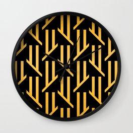 Art Deco 24-Karat Gold Geometric Design Elegant Pattern Wall Clock