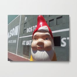 Gnome in front of Fenway Park's Green Monster Metal Print