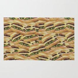Vintage Cheeseburger Pile Print Rug