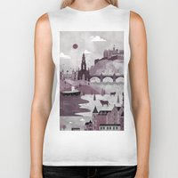 edinburgh Biker Tanks featuring Edinburgh Travel Poster Illustration by ClaireIllustrations