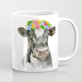 Black and White Cow with Floral Crown Watercolor Painting Coffee Mug