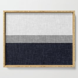 Navy Blue and Grey Simple Stripe with Crosshatch Burlap Print Pattern Serving Tray