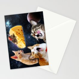 Cats and the mouse on the cheese Stationery Cards
