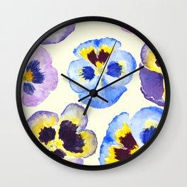 pansies pattern watercolor painting Wall Clock