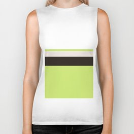 Modern Lime Green Color Block Gray Stripes White Biker Tank