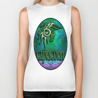 astrology Biker Tanks featuring Capricorn Zodiac Sign Astrology by CAP Artwork & Design