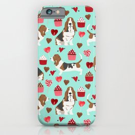 Basset Hound valentines day cute gifts for dog lover pet portrait dog breed custom illustration iPhone Case