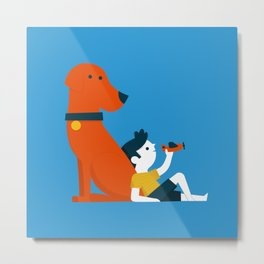Boy and Dog Metal Print