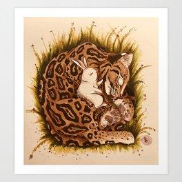 Rabbit & Ocelot Art Print
