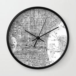 Vintage Map of Philadelphia Pennsylvania (1876) BW Wall Clock