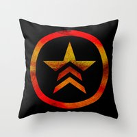 mass effect Throw Pillows featuring Mass Effect Renegade by foreverwars