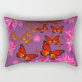 Puce Purple Pink Cacti Flowers Butterflies Art Rectangular Pillow