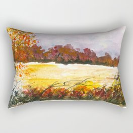 Whispering Grove, Watercolor Landscape Art Rectangular Pillow