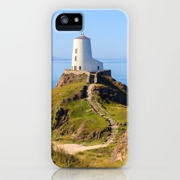 Steps up to lighthouse on Llanddwyn Island, Anglesey, Wales iPhone Case