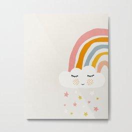Rainbow, Abstract, Mid century modern kids wall art, Nursery room Metal Print