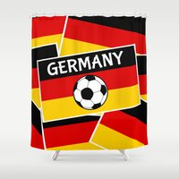 german Shower Curtains featuring German Flag Football by mailboxdisco