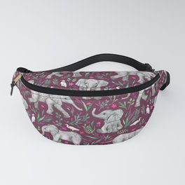 Baby Elephants and Egrets in Watercolor - burgundy red Fanny Pack