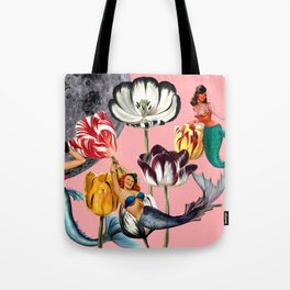 Mermaid Floral with moon Tote Bag