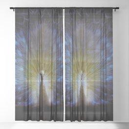 Majestic White Peacock ~ yo͞onəˌvərs Sheer Curtain