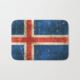 Vintage Aged and Scratched Icelandic Flag Bath Mat