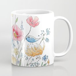 wild flower bouquet and blue bird- ink and watercolor 2 Coffee Mug
