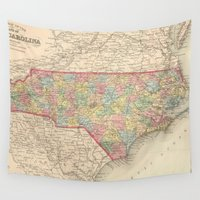 north carolina Wall Tapestries featuring Vintage Map of North Carolina (1859) by BravuraMedia