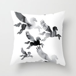 Facing Pegasus Throw Pillow