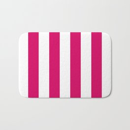 Bright Pink Peacock and White Wide Vertical Cabana Tent Stripe Bath Mat