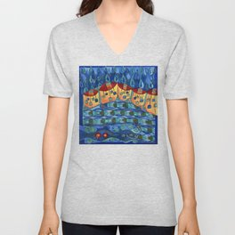 Precipitation to Subsurface Flow, Abstract Rain Houses Water Cycle Painting Unisex V-Neck