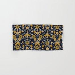 Navy Blue, Turquoise, Cream & Mustard Yellow Dark Floral Pattern Hand & Bath Towel