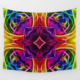 Rainbow Rose Kaleidoscope Mandala Wall Tapestry