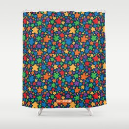 Funky Meeple Pattern Shower Curtain