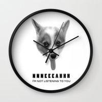 meme Wall Clocks featuring Corgi Meme by Geordi the corgi