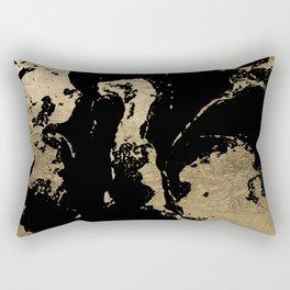 Elegant faux gold foil black chic marble pattern Rectangular Pillow