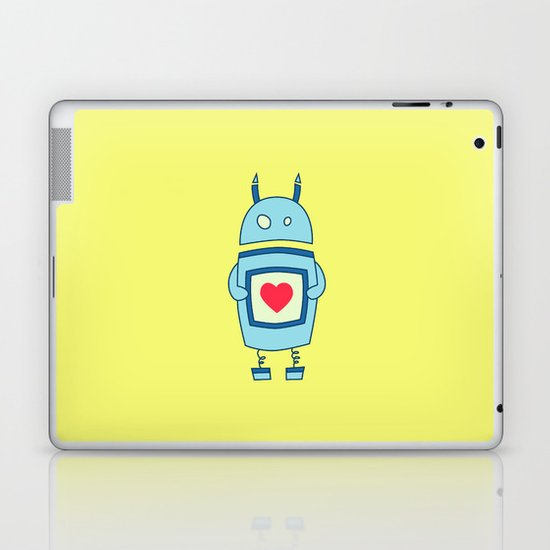 Cute Clumsy Robot With Heart Laptop & iPad Skin