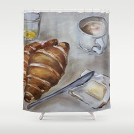 French breakfast, coffee and croissant, original oil painting, daily traditional art Shower Curtain