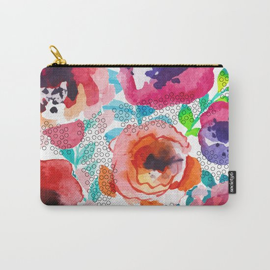Watercolor flowers and circles Carry-All Pouch