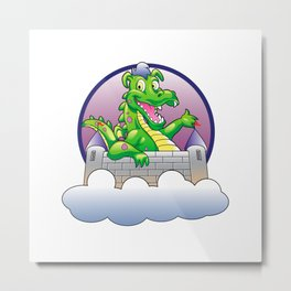 Illustration dragon and castle Metal Print