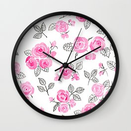 Pink watercolor roses pattern Wall Clock