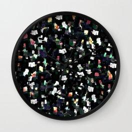 Digital Glitter: Black with Iridescent Sparkles Wall Clock