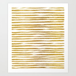 Squiggly Gold Foil Brush Stroke Hand-Painted Lines on White Art Print
