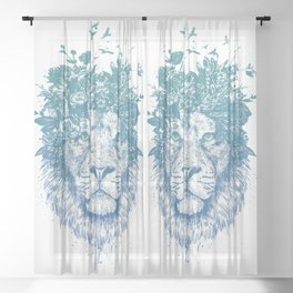 Floral lion Sheer Curtain