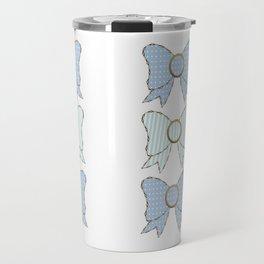 Polka Dots and Stripes Blue Bows  Travel Mug