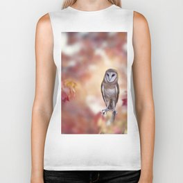 Barn owl perching in the autumn forest Biker Tank