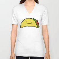 taco V-neck T-shirts featuring Sad Taco by Leah Flores