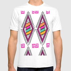 Aztec Pattern Mens Fitted Tee White MEDIUM
