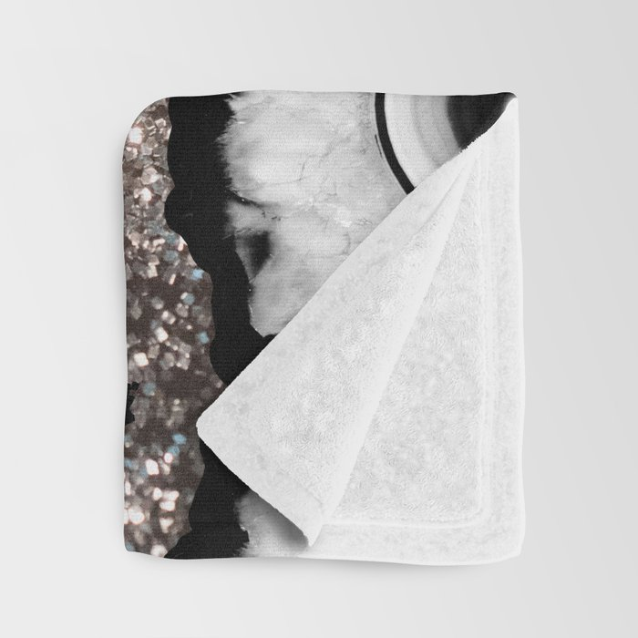 Gray Black White Agate with Silver Glitter #1 #gem #decor #art #society6 Throw Blanket