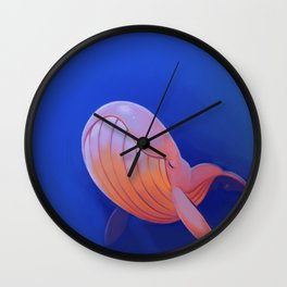 Contented Whale Wall Clock