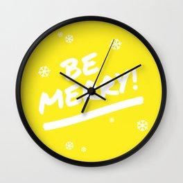 Bright Yellow Be Merry Christmas Snowflakes Wall Clock
