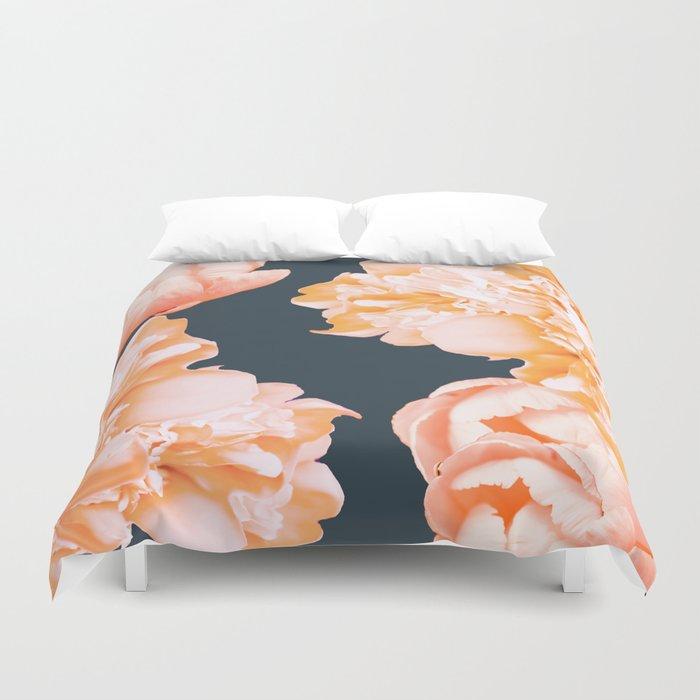Peach Colored Flowers Dark Background Decor Society6 Buyart Duvet